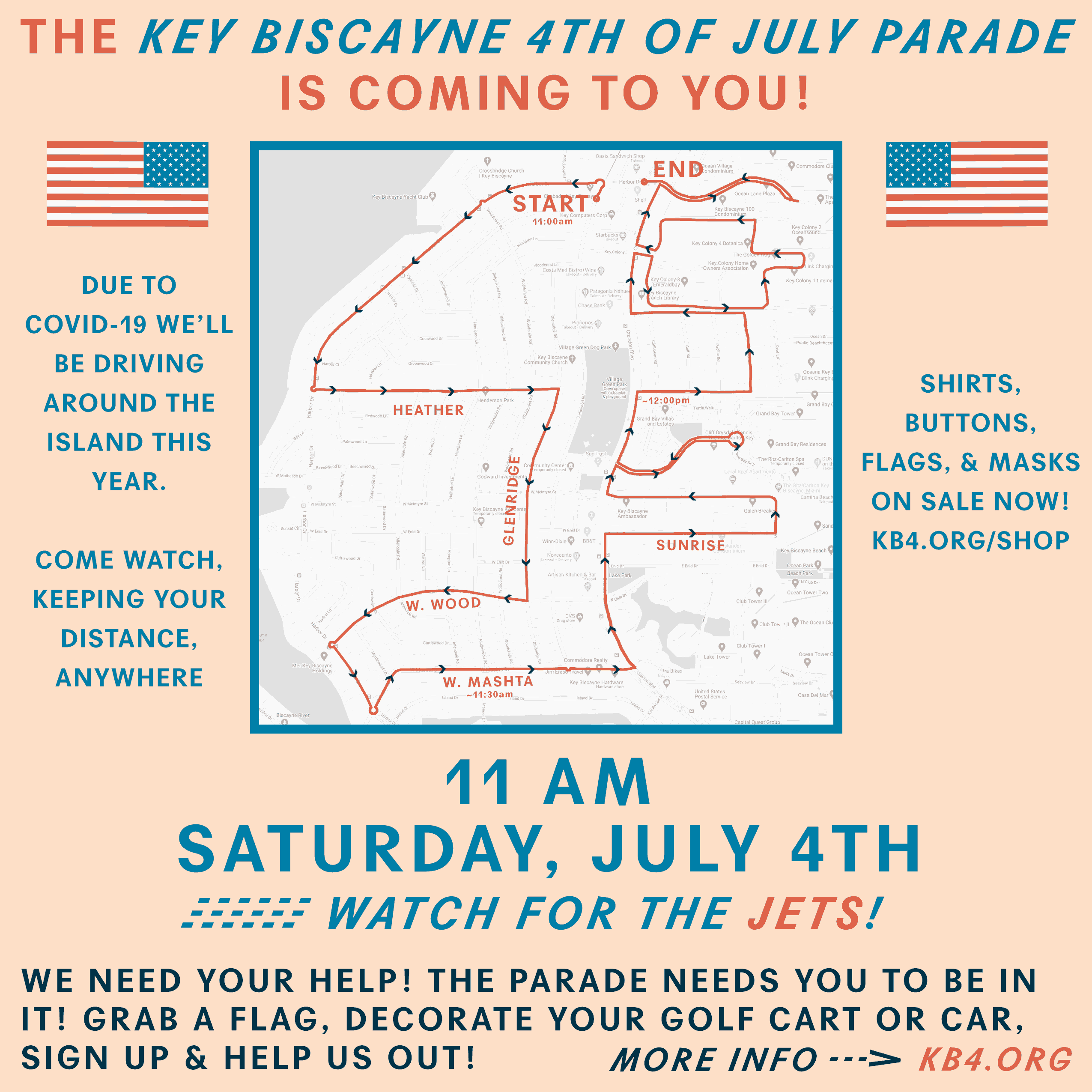 Key Biscayne 4th of July 2020 parade route